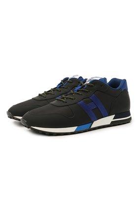 Мужские комбинированные кроссовки HOGAN темно-синего цвета, арт. HXM3830AN51PTQ | Фото 1