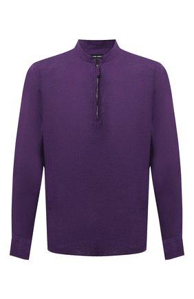 Мужская льняная рубашка GIORGIO ARMANI фиолетового цвета, арт. 1SGCCZ50/TZ256 | Фото 1