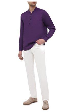 Мужская льняная рубашка GIORGIO ARMANI фиолетового цвета, арт. 1SGCCZ50/TZ256 | Фото 2