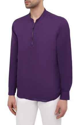 Мужская льняная рубашка GIORGIO ARMANI фиолетового цвета, арт. 1SGCCZ50/TZ256 | Фото 3
