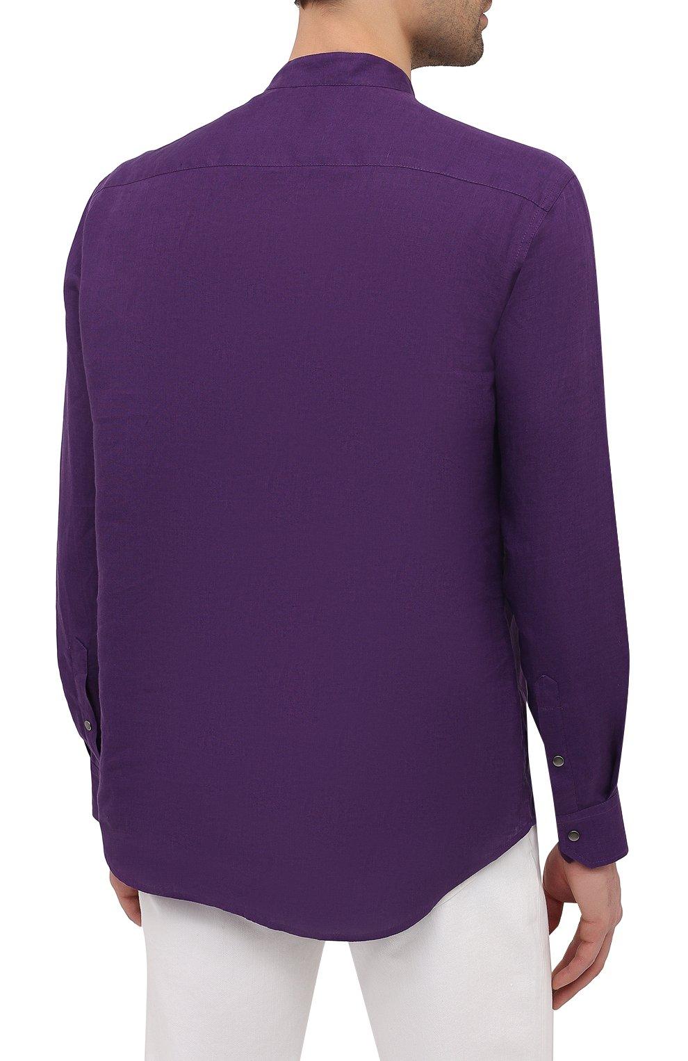 Мужская льняная рубашка GIORGIO ARMANI фиолетового цвета, арт. 1SGCCZ50/TZ256 | Фото 4