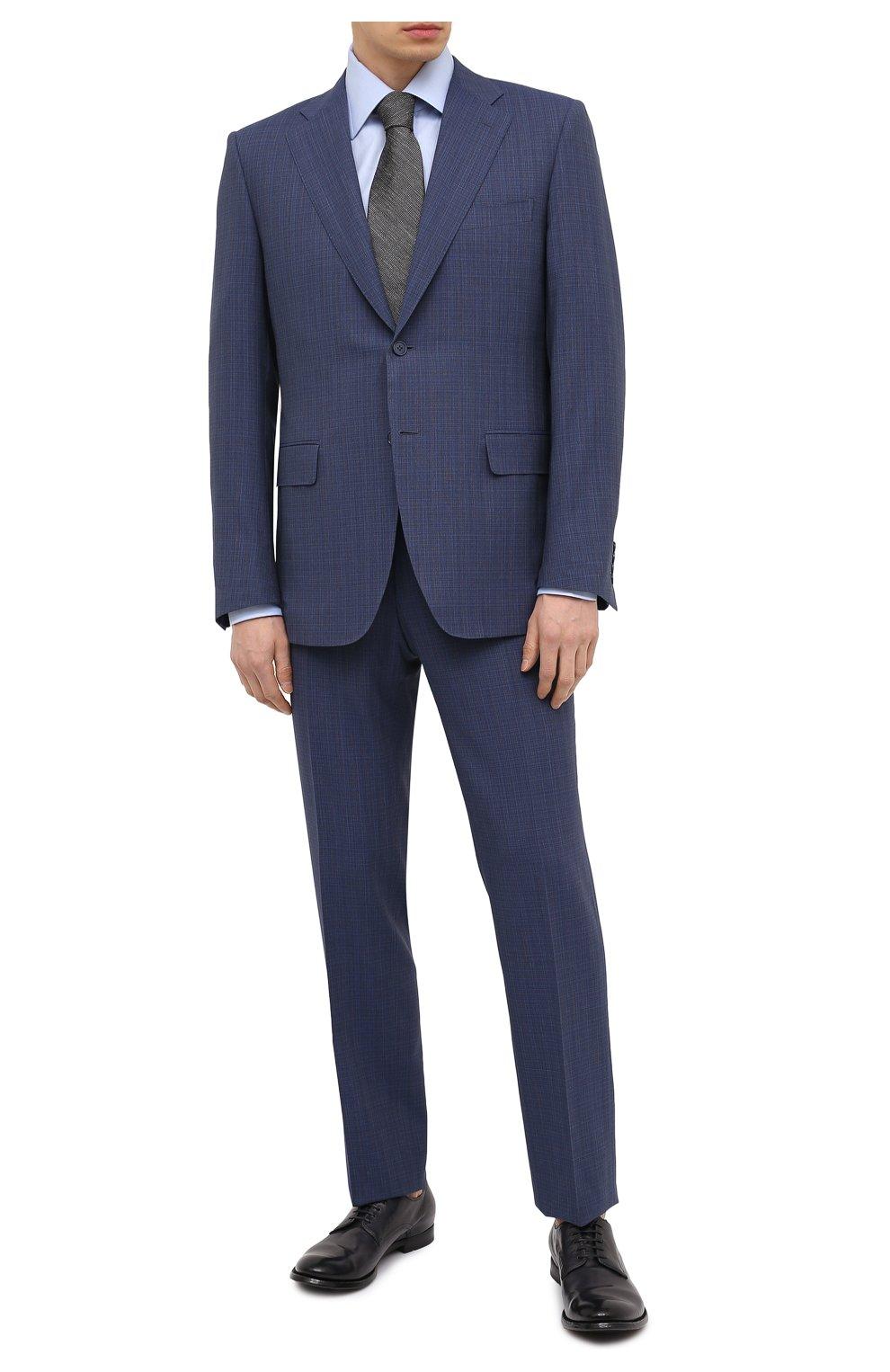 Мужские кожаные дерби OFFICINE CREATIVE темно-синего цвета, арт. ANAT0MIA/60/AER0 CANY0N   Фото 2 (Материал внутренний: Натуральная кожа; Стили: Классический)