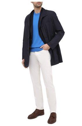 Мужской кашемировый свитер LORO PIANA синего цвета, арт. FAL3426 | Фото 2 (Принт: Без принта; Длина (для топов): Стандартные; Материал внешний: Шерсть, Кашемир; Рукава: Длинные; Мужское Кросс-КТ: Свитер-одежда; Стили: Кэжуэл)