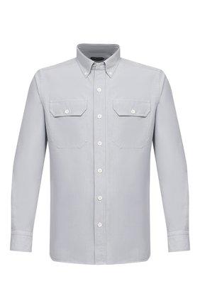 Мужская хлопковая рубашка TOM FORD светло-серого цвета, арт. QFT091/94UDAN | Фото 1 (Воротник: Button down; Принт: Однотонные; Рукава: Длинные; Рубашки М: Slim Fit; Манжеты: На пуговицах; Случай: Повседневный; Стили: Кэжуэл; Материал внешний: Хлопок; Длина (для топов): Стандартные)