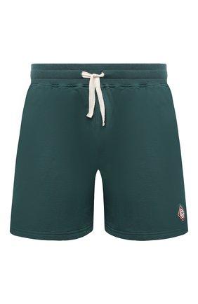 Мужские хлопковые шорты CASABLANCA темно-зеленого цвета, арт. MS21-JTR-003 DARK GREEN - L0G0   Фото 1