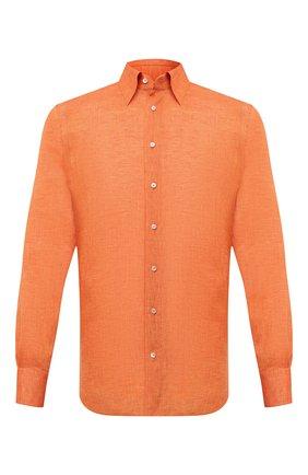 Мужская льняная сорочка ZILLI оранжевого цвета, арт. MFV-13091-352230/0007 | Фото 1