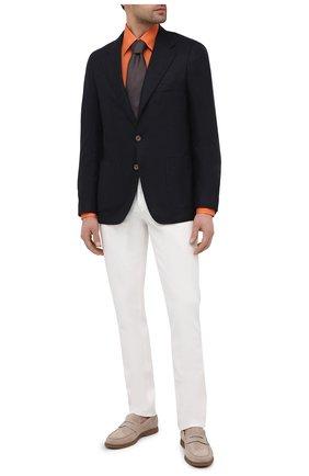Мужская льняная сорочка ZILLI оранжевого цвета, арт. MFV-13091-352230/0007 | Фото 2