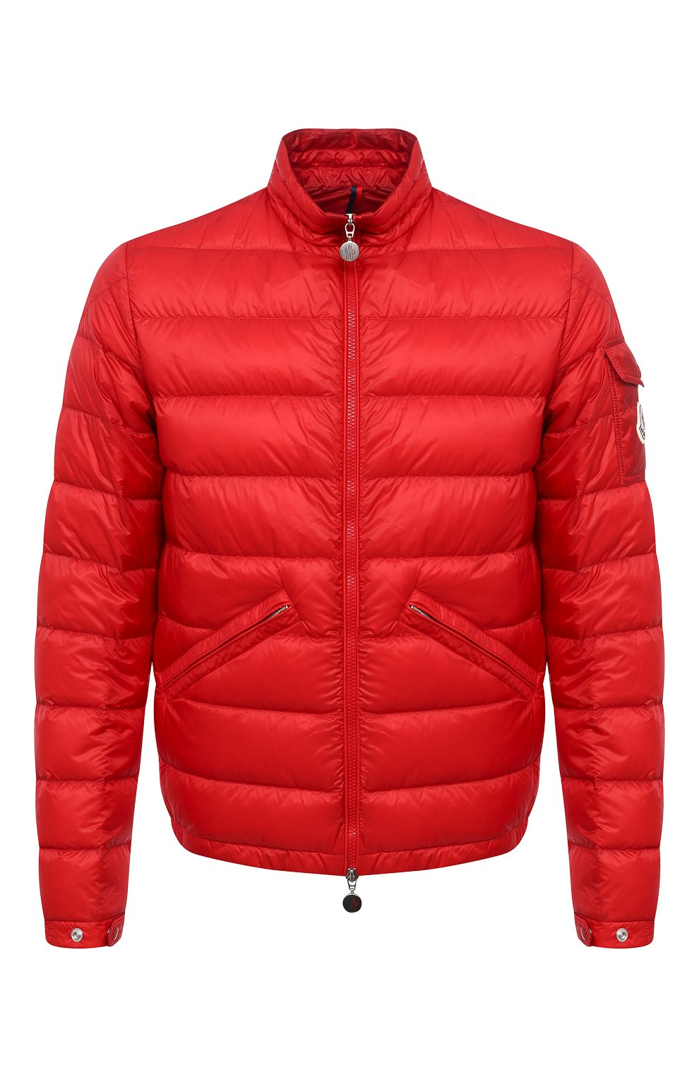 Мужская пуховая куртка agay MONCLER красного цвета, арт. G1-091-1A110-00-53279   Фото 1 (Кросс-КТ: Куртка; Мужское Кросс-КТ: пуховик-короткий; Рукава: Длинные; Материал внешний: Синтетический материал; Материал подклада: Синтетический материал; Длина (верхняя одежда): Короткие; Стили: Кэжуэл)