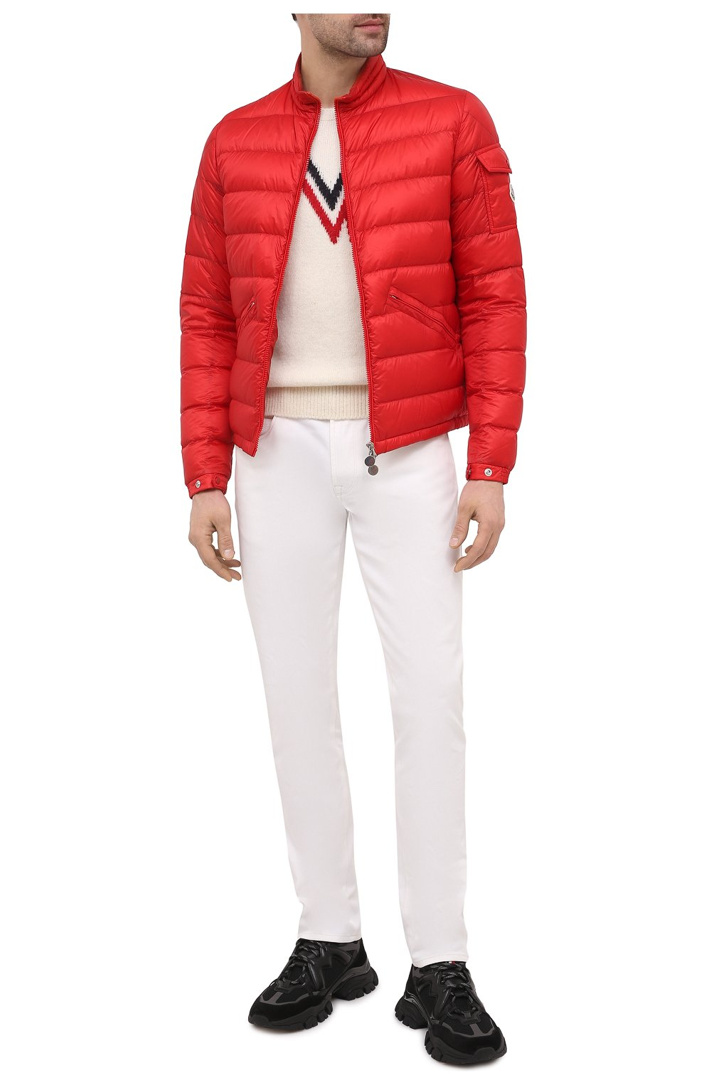 Мужская пуховая куртка agay MONCLER красного цвета, арт. G1-091-1A110-00-53279   Фото 2 (Кросс-КТ: Куртка; Мужское Кросс-КТ: пуховик-короткий; Рукава: Длинные; Материал внешний: Синтетический материал; Материал подклада: Синтетический материал; Длина (верхняя одежда): Короткие; Стили: Кэжуэл)