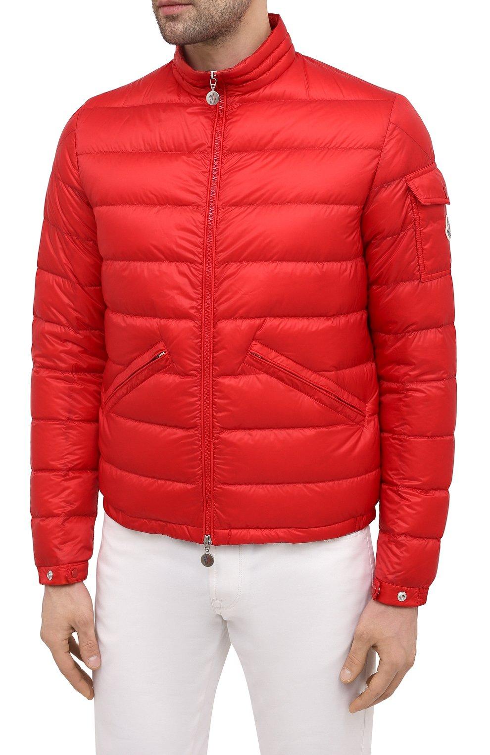 Мужская пуховая куртка agay MONCLER красного цвета, арт. G1-091-1A110-00-53279   Фото 3 (Кросс-КТ: Куртка; Мужское Кросс-КТ: пуховик-короткий; Рукава: Длинные; Материал внешний: Синтетический материал; Материал подклада: Синтетический материал; Длина (верхняя одежда): Короткие; Стили: Кэжуэл)