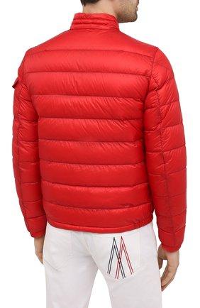 Мужская пуховая куртка agay MONCLER красного цвета, арт. G1-091-1A110-00-53279   Фото 4 (Кросс-КТ: Куртка; Мужское Кросс-КТ: пуховик-короткий; Рукава: Длинные; Материал внешний: Синтетический материал; Материал подклада: Синтетический материал; Длина (верхняя одежда): Короткие; Стили: Кэжуэл)