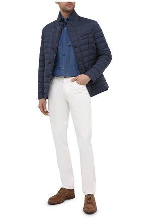 Мужская хлопковая рубашка ZILLI SPORT синего цвета, арт. MFU-7060-0001/0007/08/09/10/11 | Фото 2