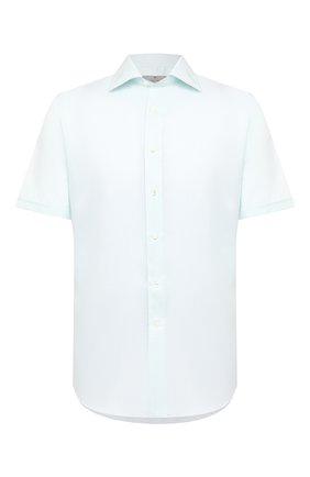 Мужская рубашка из хлопка и льна CANALI голубого цвета, арт. N618/GR02295 | Фото 1