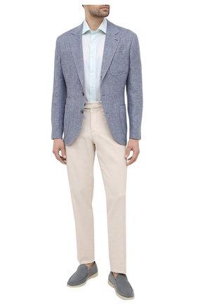 Мужская рубашка из хлопка и льна CANALI голубого цвета, арт. N618/GR02295 | Фото 2