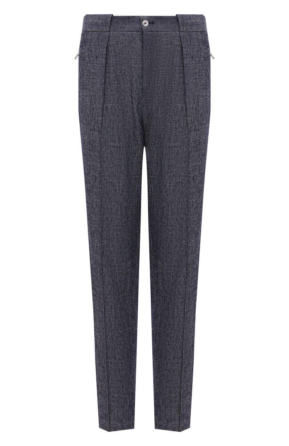 Мужские брюки изо льна и хлопка GIORGIO ARMANI синего цвета, арт. 1SGPP0GM/T02CB   Фото 1