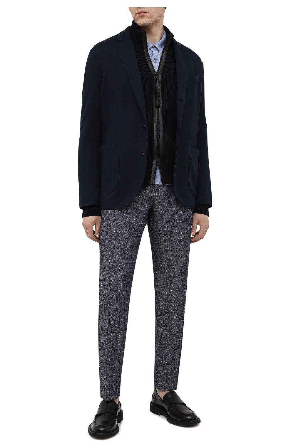 Мужские брюки изо льна и хлопка GIORGIO ARMANI синего цвета, арт. 1SGPP0GM/T02CB   Фото 2