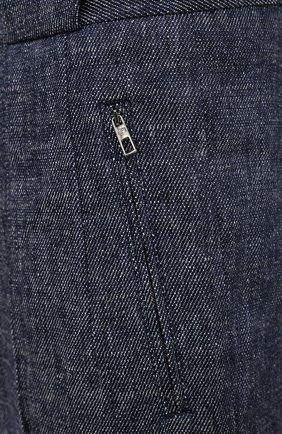 Мужские брюки изо льна и хлопка GIORGIO ARMANI синего цвета, арт. 1SGPP0GM/T02CB   Фото 5