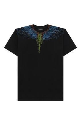 Детская хлопковая футболка MARCELO BURLON KIDS OF MILAN черного цвета, арт. 21E/B/MB/1107/0010/8-14Y   Фото 1