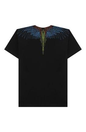 Детская хлопковая футболка MARCELO BURLON KIDS OF MILAN черного цвета, арт. 21E/B/MB/1107/0010/8-14Y   Фото 2