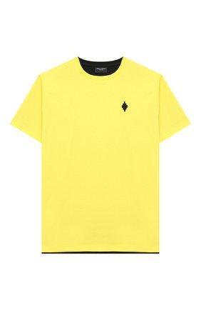 Детская хлопковая футболка MARCELO BURLON KIDS OF MILAN желтого цвета, арт. 21E/B/MB/1116/0010/8-14Y   Фото 1