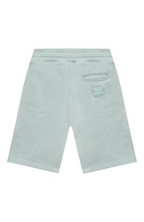 Детские хлопковые шорты DOLCE & GABBANA бирюзового цвета, арт. L4JQD4/G7VGL/2-6 | Фото 2