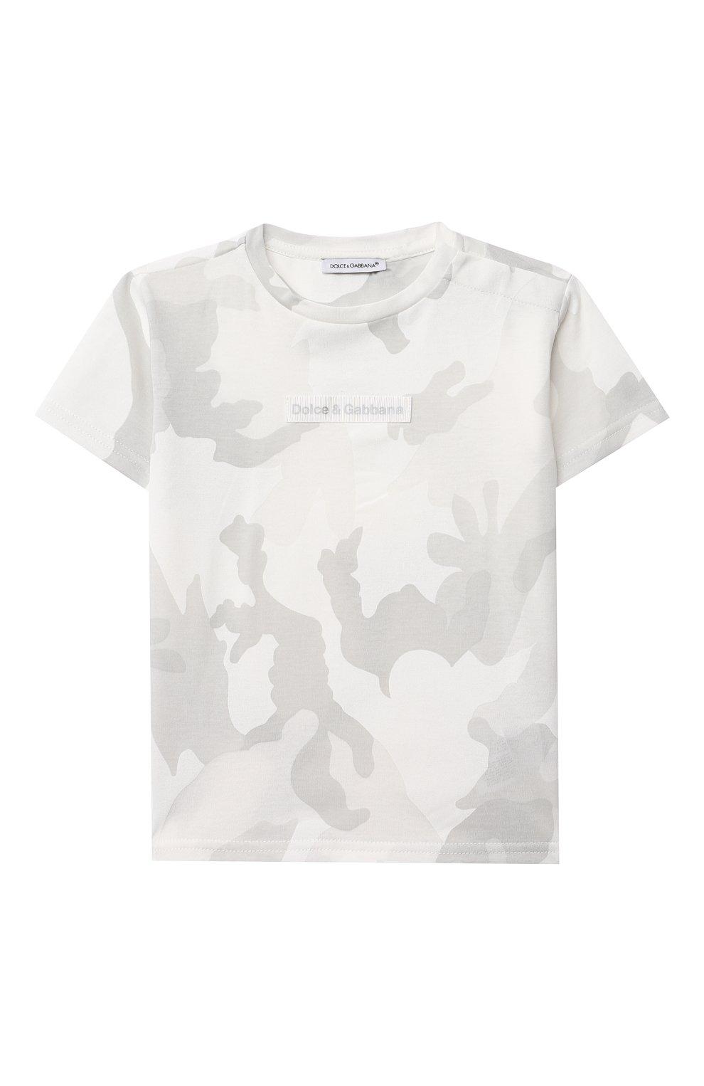 Детский хлопковая футболка DOLCE & GABBANA светло-серого цвета, арт. L1JT8E/G7YIS | Фото 1