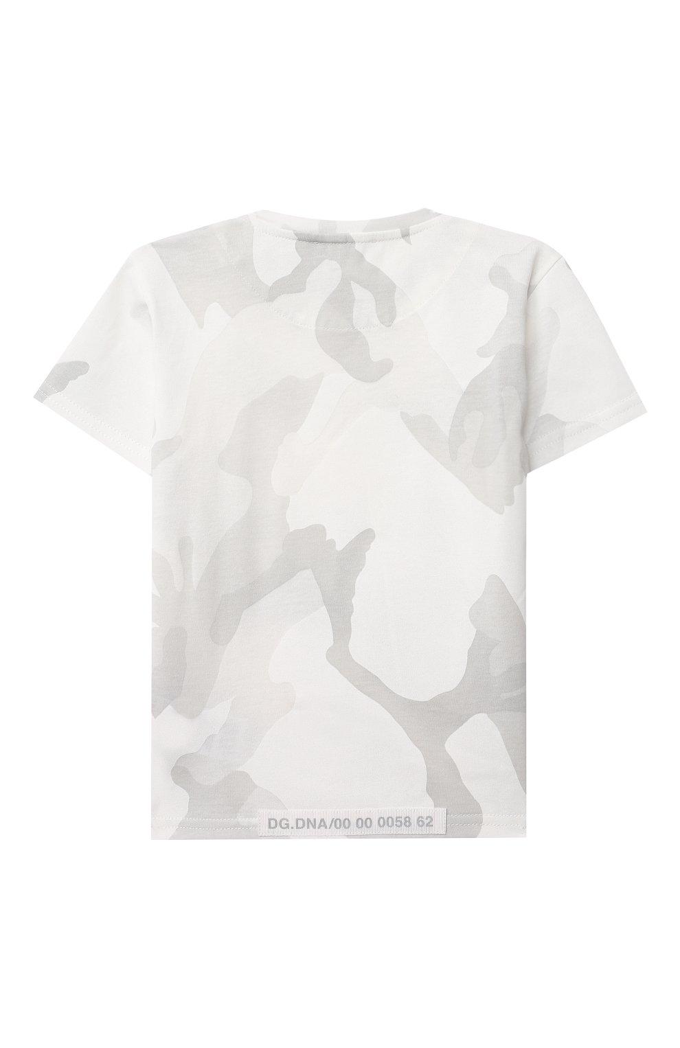 Детский хлопковая футболка DOLCE & GABBANA светло-серого цвета, арт. L1JT8E/G7YIS | Фото 2
