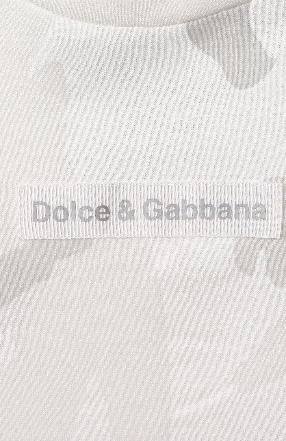 Детский хлопковая футболка DOLCE & GABBANA светло-серого цвета, арт. L1JT8E/G7YIS | Фото 3