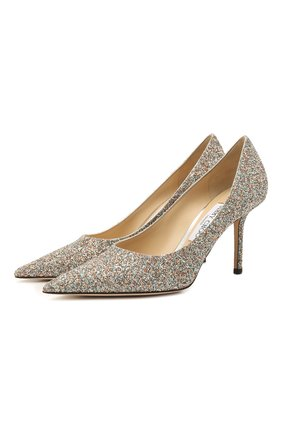 Женские текстильные туфли love 85 JIMMY CHOO серебряного цвета, арт. L0VE 85/J0Y   Фото 1