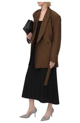Женские текстильные туфли love 85 JIMMY CHOO серебряного цвета, арт. L0VE 85/J0Y   Фото 2