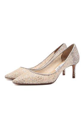 Женские комбинированные туфли romy 60 JIMMY CHOO серебряного цвета, арт. R0MY 60/BBR   Фото 1