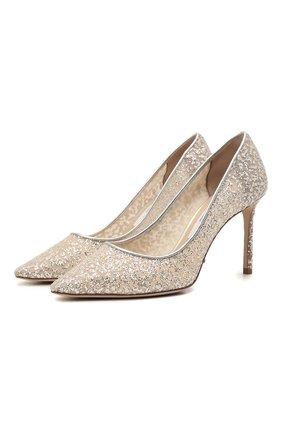 Женские комбинированные туфли romy 85 JIMMY CHOO серебряного цвета, арт. R0MY 85/BBR   Фото 1