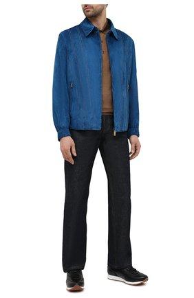 Мужской замшевый бомбер ZILLI синего цвета, арт. MAV-J0CKE-01003/2002 | Фото 2 (Кросс-КТ: Куртка; Материал подклада: Шелк; Рукава: Длинные; Мужское Кросс-КТ: Кожа и замша; Принт: Без принта; Длина (верхняя одежда): Короткие; Стили: Кэжуэл; Материал внешний: Замша)