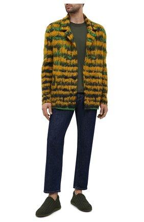 Мужские текстильные слиперы BOTTEGA VENETA зеленого цвета, арт. 651271/V0GV0 | Фото 2 (Мужское Кросс-КТ: Слиперы-обувь; Материал внешний: Текстиль; Стили: Кэжуэл; Материал внутренний: Натуральная кожа, Текстиль)