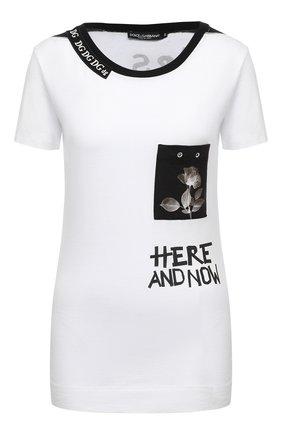 Женская хлопковая футболка DOLCE & GABBANA белого цвета, арт. F8M28Z/FI75E | Фото 1