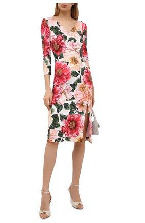Женское платье из вискозы DOLCE & GABBANA розового цвета, арт. F6I6QT/FSRMU | Фото 2