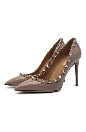 Женские кожаные туфли rockstud VALENTINO бежевого цвета, арт. VW2S0057/VNW | Фото 1 (Материал внутренний: Натуральная кожа; Подошва: Плоская; Каблук высота: Высокий; Каблук тип: Шпилька)