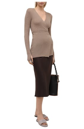 Женские кожаные шлепанцы GIORGIO ARMANI серого цвета, арт. X1PA23/XF417 | Фото 2