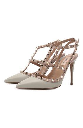 Женские кожаные туфли valentino garavani rockstud VALENTINO серого цвета, арт. VW2S0393/V0D | Фото 1