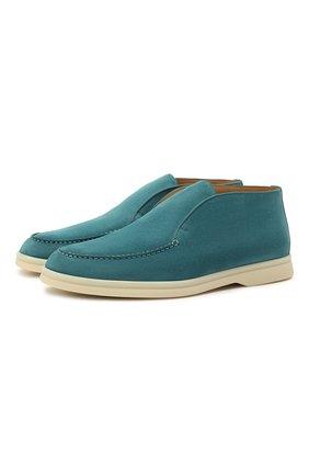 Женские замшевые ботинки open walk LORO PIANA бирюзового цвета, арт. FAE9959 | Фото 1