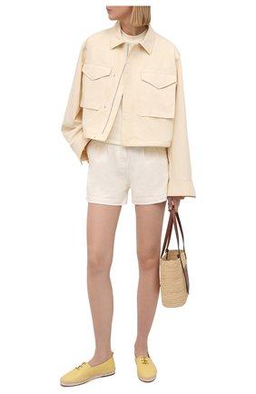 Женские кожаные эспадрильи LORO PIANA желтого цвета, арт. FAL5963 | Фото 2 (Материал внешний: Кожа; Материал внутренний: Натуральная кожа; Каблук высота: Низкий; Подошва: Платформа)
