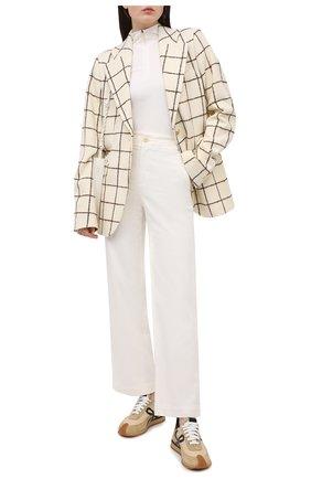 Женские хлопковые брюки VINCE кремвого цвета, арт. V710821754 | Фото 2