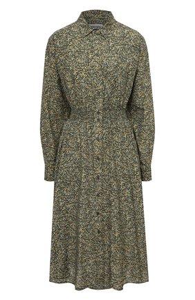 Женское платье из хлопка и шелка KENZO хаки цвета, арт. FB52R0010514 | Фото 1