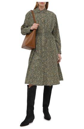 Женское платье из хлопка и шелка KENZO хаки цвета, арт. FB52R0010514 | Фото 2