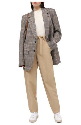Женские хлопковые брюки KENZO бежевого цвета, арт. FB52PA0339SA | Фото 2