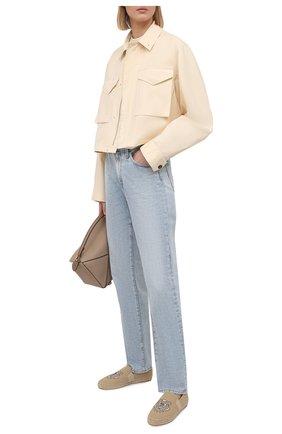 Женские текстильные эспадрильи KENZO бежевого цвета, арт. FB52ES188F70   Фото 2