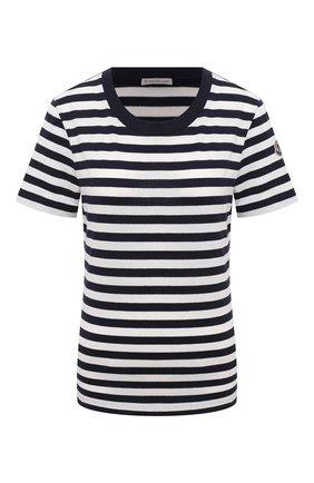 Женская хлопковая футболка MONCLER черно-белого цвета, арт. G1-093-8C7A7-00-829JT | Фото 1