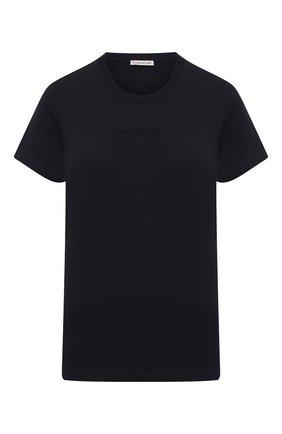 Женская хлопковая футболка MONCLER темно-синего цвета, арт. G1-093-8C7A6-10-829FB | Фото 1
