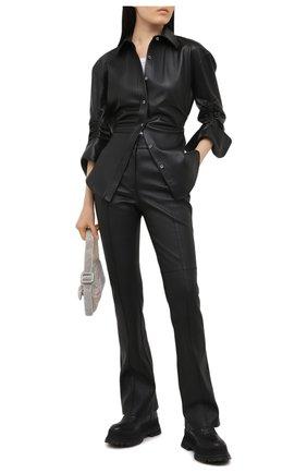 Женская кожаная рубашка ALEXANDER WANG черного цвета, арт. 1WC2201383 | Фото 2