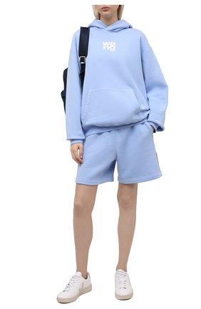 Женские хлопковый шорты ALEXANDER WANG голубого цвета, арт. UCC1214010   Фото 2